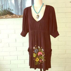 Soul revival Brown modal Embroidered dress L NWOT